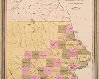Vintage Iowa Map Etsy - Map iowa