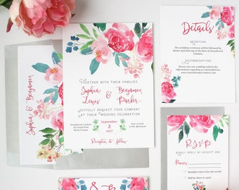 Floral Wedding Invitations - Pink - Wedding Invitations - Romantic Watercolor Floral Collection Deposit