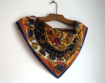 French style botanical ornate small polyester scarf, red, blue and gold wild flowers print square neck kerchief, vintage fashion accessories
