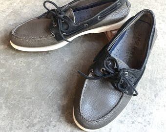 Black Gray Two Tone Leather SPERRY Top Sider Boat Shoes / Slip On Loafers Unworn Men's 10 M Two Eye