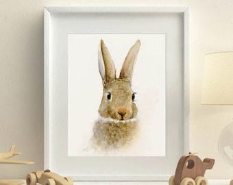 Woodland animal print for nursery of watercolor rabbit painting, girl boy room wall art print of rabbit illustration grey brown rabbit LARGE