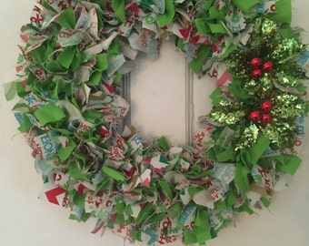 Christmas Rag Wreath, classic rag wreath, sparkly berries, holly, red and green material, Front door wreath, Christmas Decor,