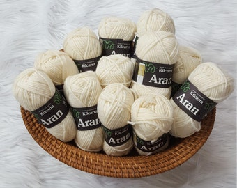 Pure New Wool Yarn made in Ireland by Kilcarra - Color Natural White