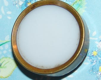 "Antique Brass Drum Waistcoat Button ~ White Glass Insert ~ Cloth Pad Back ~ 1"" x 1/4"" ~ Collector's Division 1 Button ~ Beautiful Patina!"