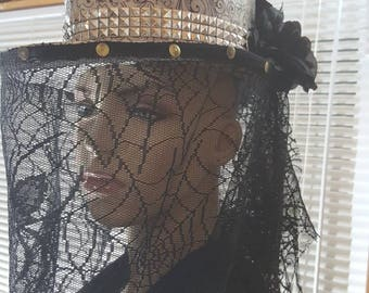 Black widow hat,gothic hat,steampunk hat,hat with veil