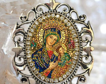 Our Lady of Perpetual Help Handmade Necklace Catholic Christian Religious Jewelry Medal Pendant Our Lady of Perpetual Succour Theotokos