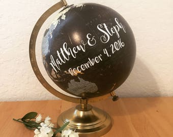FREE SHIPPING, Customize Me! Wedding Guestbook Globe, Custom globe, calligraphy globe, hand lettered globe, navy and gold globe, qu