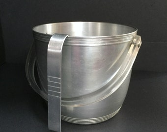 Vintage Aluminum Ice Bucket with Tongs by Kromex