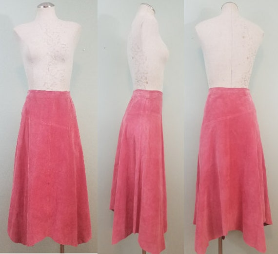 Vintage Dusty Rose Suede Skirt / Early 1990s, Asymmetrical Handkerchief Hem Midi / High Waisted / Modern Size Small S to Medium M