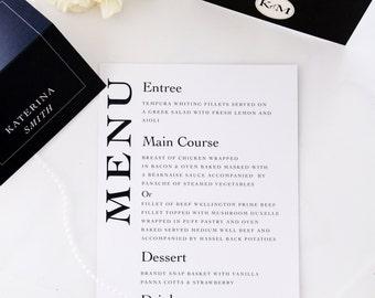 Elegant Menus, Premium Paper, Printable File or Printed Cards, Wedding Menus, New by Paradise Invitations