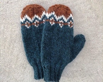 Mittens Hand Knit - 100% Natural Icelandic Wool