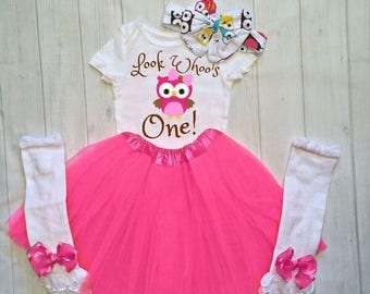 Look Who's One! 1st Birthday Outfit Girl, Owl Birthday Outfit, Personalized Owl Birthday Shirt, Girls First Birthday Outfit, Owl Themed