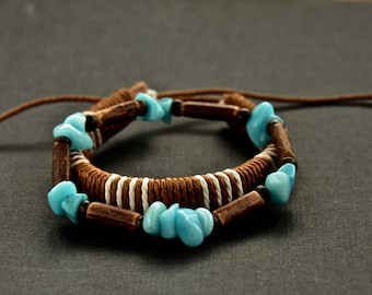 2 mens bracelets. Back to the roots-stone-coco-leather