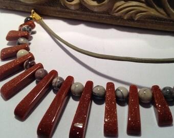 Beaded Necklace, Ladies, Semi precious, stone, leather, Gift for Her, Tribal, Ethnic, Goldstone, Jasper