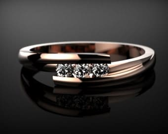 Rose Gold White Sapphire Ring Rose Gold Engagement Ring White Sapphire Rose Gold Rose Ring Gold White Sapphire Ring