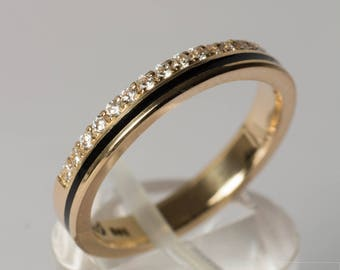 Memory/Alliance ring made of 585 gold with brilliant-cut diamonds and enamel