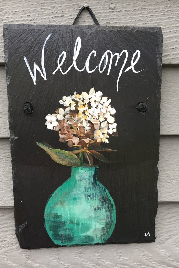 White Hydrangea Slate Welcome sign, 12 x 8  painted Slate, Wall hanging, Welcome sign, Front Door decoration, door sign, Beach house decor