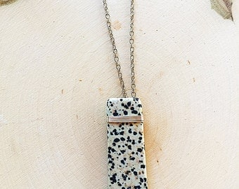 Wire-Wrapped Dalmatian Stone Necklace, Black and White Pendant, Silver Chain Jewelry, Natural Crystal, Jasper, Healing Stone, Boho, Handmade