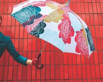 Pink umbrella printed and hand - made