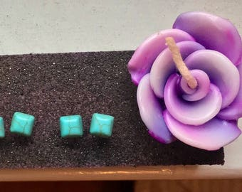 Turquoise earring studs, dainty, silver post