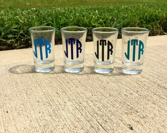 Monogrammed Shot glass. Color can be customized! Bachelorette party shot glass, birthday party shot glass, custom shot glass