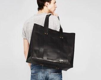 HAERRA Weekender Leather Bag Black