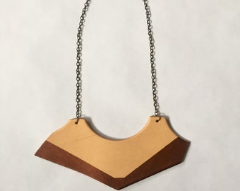 Statement necklace, leather jewelry, recycled leather