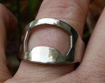 Bottle opener ring. Beer drinkers ring. Gift for him. Pop top ring. Beer bottle opener. Men's ring.