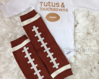 Tutus and Touchdowns Onesie and Football Leg Warmers- My First Football Season- Super Bowl