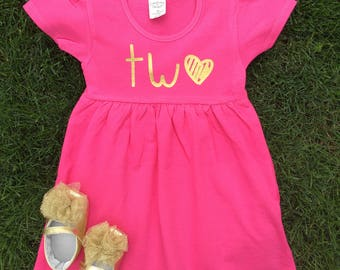 Two Dress, Second Birthday Outfit, 2nd Birthday Outfit Girl, 2nd Birthday Outfit, Two Birthday, Two, Pink and Gold Birthday