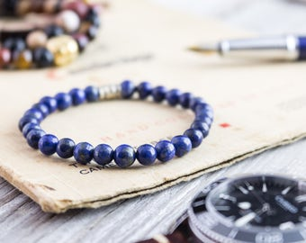 6mm - Blue lapis lazuli beaded stretchy bracelet, custom made yoga bracelet, mens bracelet, womens bracelet, blue bead gemstone bracelet,