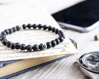 6mm - Matte black onyx & lava stone beaded stretchy bracelet, bead bracelet, natural bead mens bracelet, gemstone bracelet