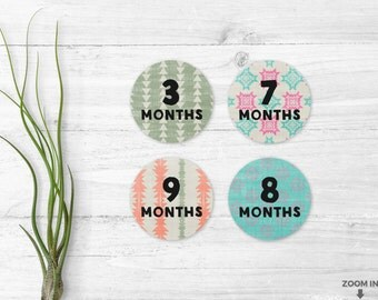 Baby month stickers - Printable stickers - Tribal aztec stickers - Boho baby stickers - Woodland stickers - Baby month milestone - 12 months