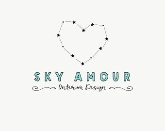 Heart logo design - Business logo - Constellation logo - Quirky logo - Premade logos - Kids shop - Chlidren boutique