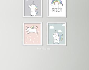 Set of 4 unicorn prints - Unicorn wall art set - Girls nursery decor - Girls room wall art - Pastel art - Unicorn art set - Printable decor