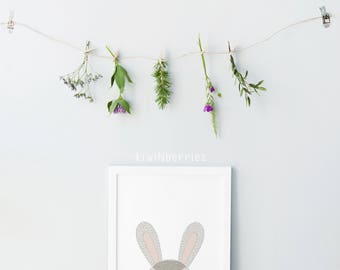 Rabbit posters - Neutral nursery decor - Cute nursery wall art - Nursery art set - Baby boy nursery art - Printable nursery art - hand drawn