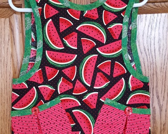 Toddlers' no-ties watermelon print apron/Size 2-3