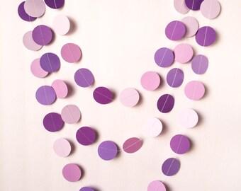 "Shades of Purple Garland - 1 1/2"" Circle - 10ft Garland - Purple, Light Purple, Lilac Rose, & Pale Purple - Ready To Ship"