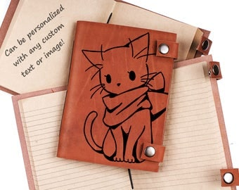Cat journal - Kawaii notebook - leather journal - personalized journal - custom journal - notebook - gift idea - gift for her