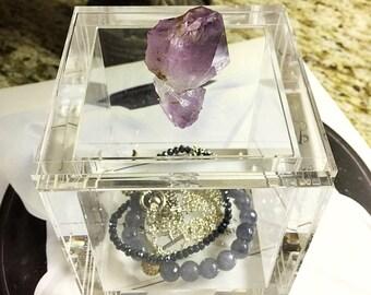 Amethyst Decorative Box, Birthstone, Amethyst Cluster, Amethyst Jewelry Box, Jewelry Display, Double Amethyst gemstone,Purple Jewelry Box
