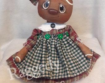 Handmade Primitive Folk Art Gingerbread Girl Doll - Burgandy Sage Green Homespun Dress - Country Kitchen Home Decor - Hand painted Face
