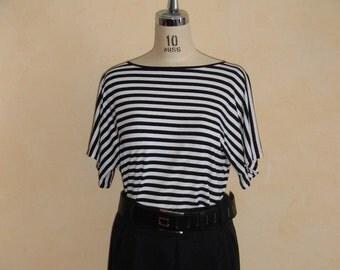 KIMONO sleeve striped T-shirt