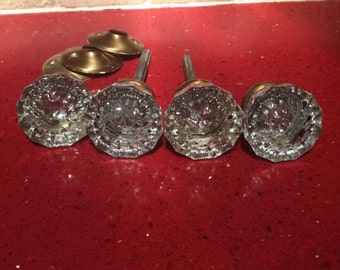 Vintage glass crystal door knobs