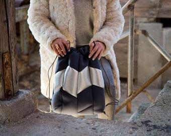 Women backpack, drawstring backpack women, gift for women backpack, backpack vegan, minimalist backpack, women rucksack, silver backpack