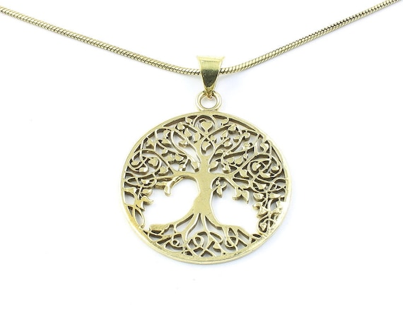 Brass Tree of Life Necklace, Tree Pendant, Festival Jewelry, Boho, Bohemian, Gypsy, Celtic, Hippie, Family Tree, Yoga Jewelry, Spiritual