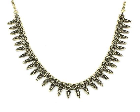 Sunwalker Necklace, Brass Link Necklace, Ornate Choker, Ethnic Jewelry, Tribal, Festival, Hippie, Gypsy, Boho, Bohemian