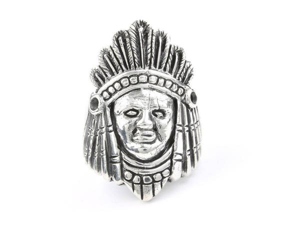 Large Indian Chief Ring, Sterling Silver ring, Chief Head, 925, Boho, Gypsy, Festival Jewelry, Gemstone, Southwestern Design