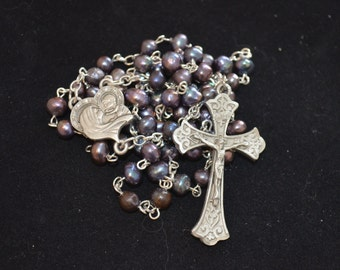 Rosary, Black Freshwater Pearl Beaded Rosary