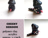 Cheeky Shroom - oven baked polymer clay; mushroom; tongue; monster; Halloween; creature; creep