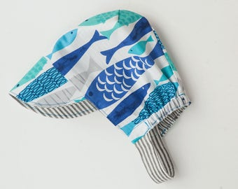 Toddler and Baby Reversible Sun Cap– Just Keep Swimming